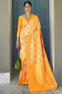 Bhelpuri Yellow Silk Woven Saree with Blouse Piece