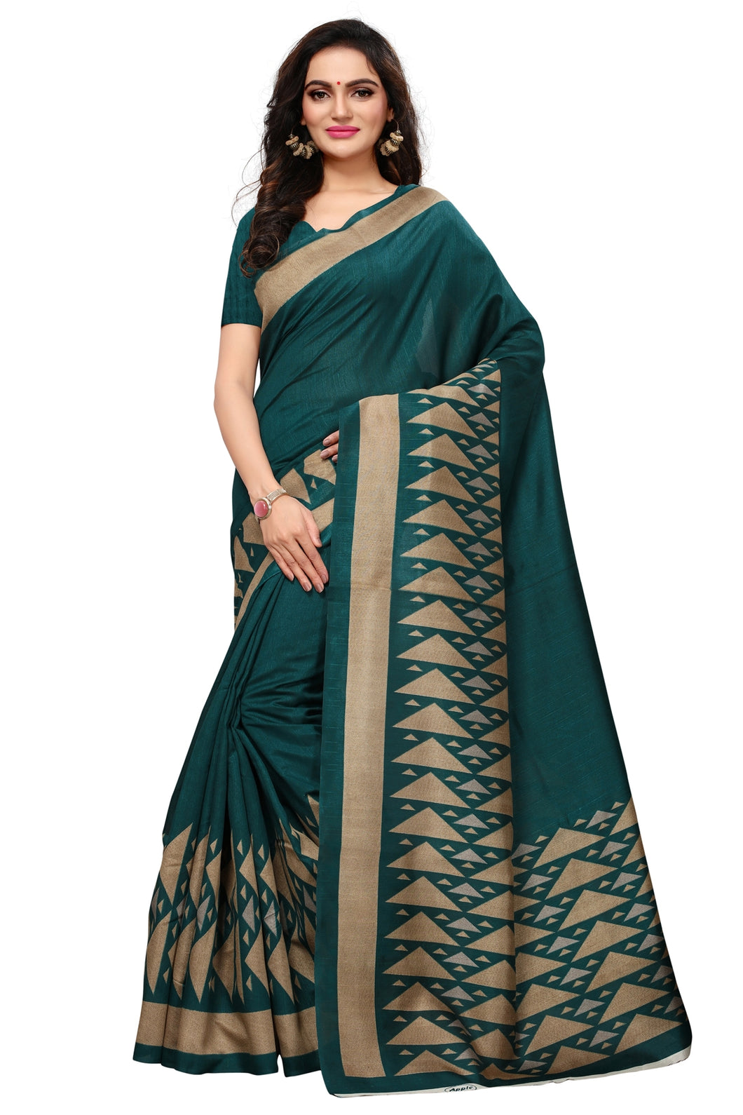 Bhelpuri Dark Green Bhagalpuri Silk Printed Saree with Bloue Piece