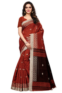 Bhelpuri Brown Bhagalpuri Silk Printed Saree with Bloue Piece