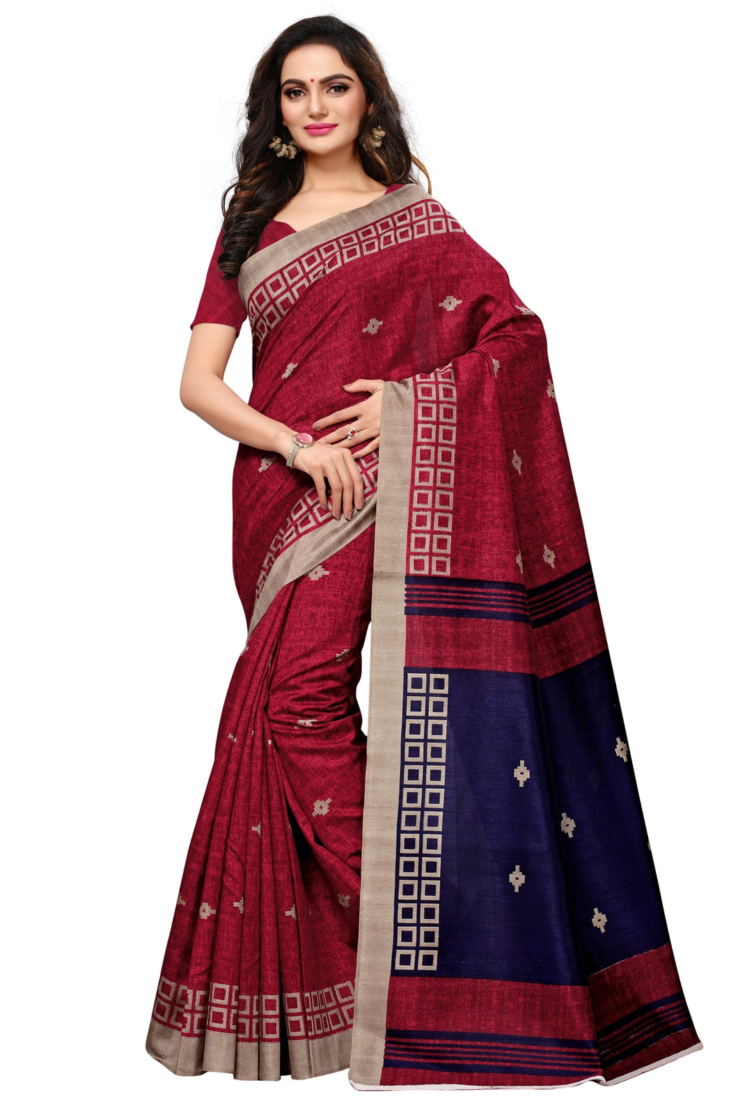Bhelpuri Maroon Bhagalpuri Silk Printed Saree with Bloue Piece