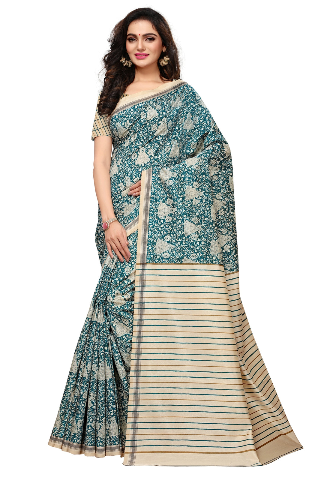 Bhelpuri Cream and Green Bhagalpuri Silk Printed Saree with Bloue Piece
