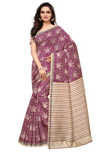 Bhelpuri Cream and Purple Bhagalpuri Silk Printed Saree with Bloue Piece
