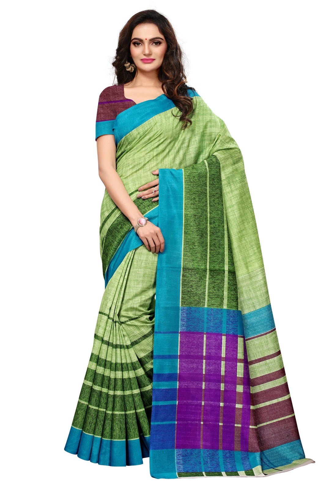 Bhelpuri Green and Multi Colour Bhagalpuri Silk Printed Saree with Bloue Piece