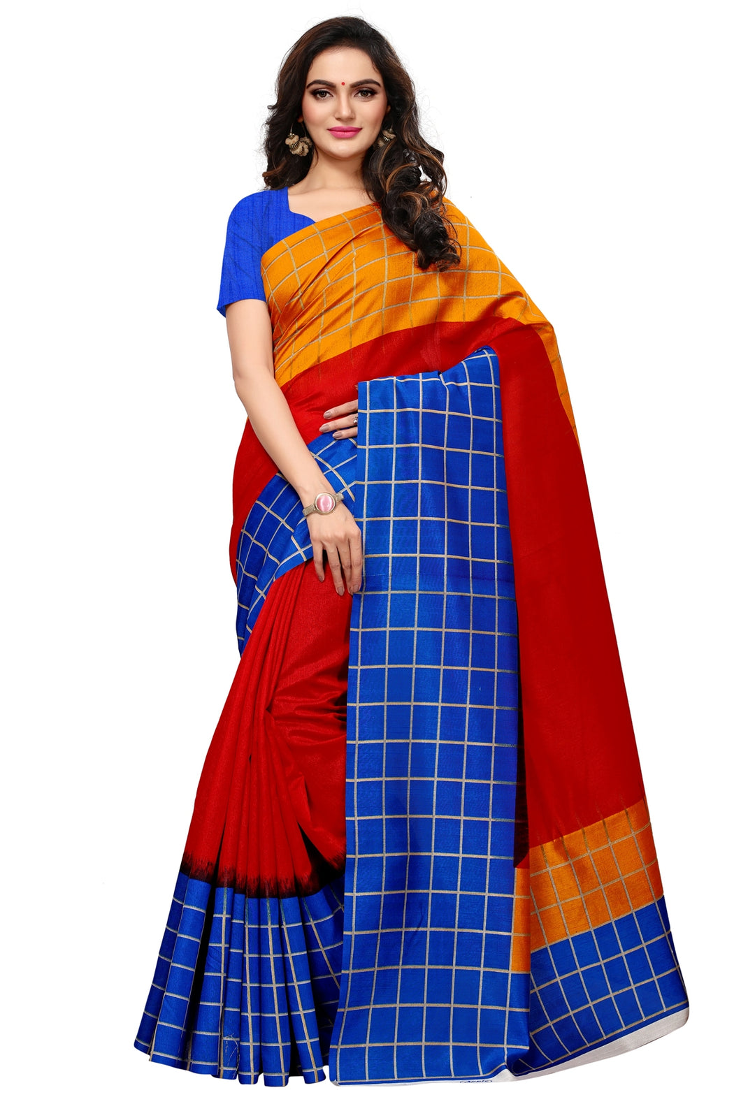Bhelpuri Multi Colour Bhagalpuri Silk Printed Saree with Bloue Piece