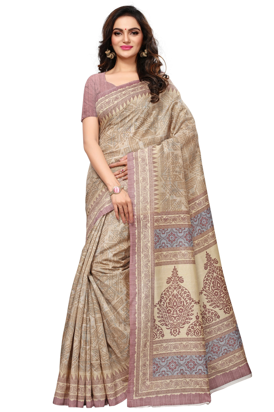 Bhelpuri Beige Bhagalpuri Silk Printed Saree with Bloue Piece