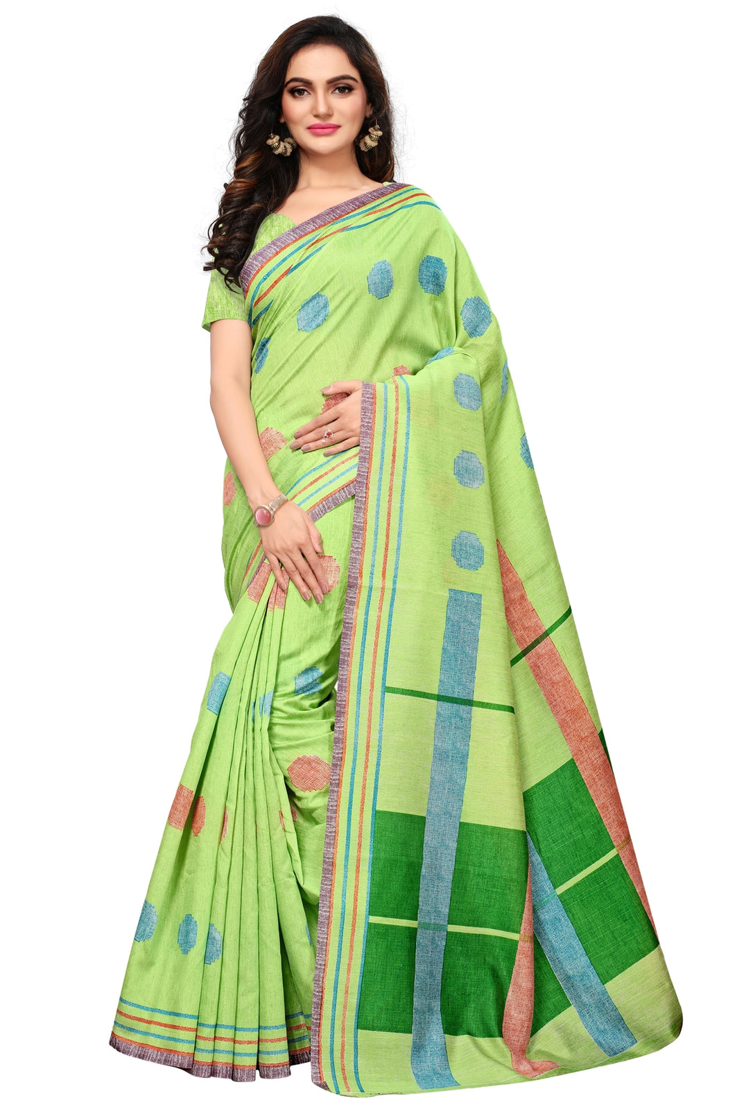 Bhelpuri Light Green Bhagalpuri Silk Printed Saree with Bloue Piece