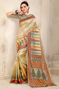 Bhelpuri Multi Colour Bhagalpuri Silk Printed Saree with Blouse Piece