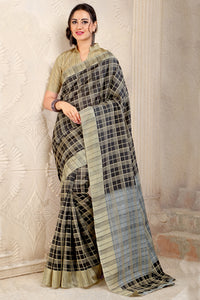 Bhelpuri Black and Grey Bhagalpuri Silk Printed Saree with Blouse Piece