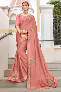 Bhelpuri Peach Georgette Embroidered Lace Border Designer Party Wear Saree with Banglori Silk Blouse Piece
