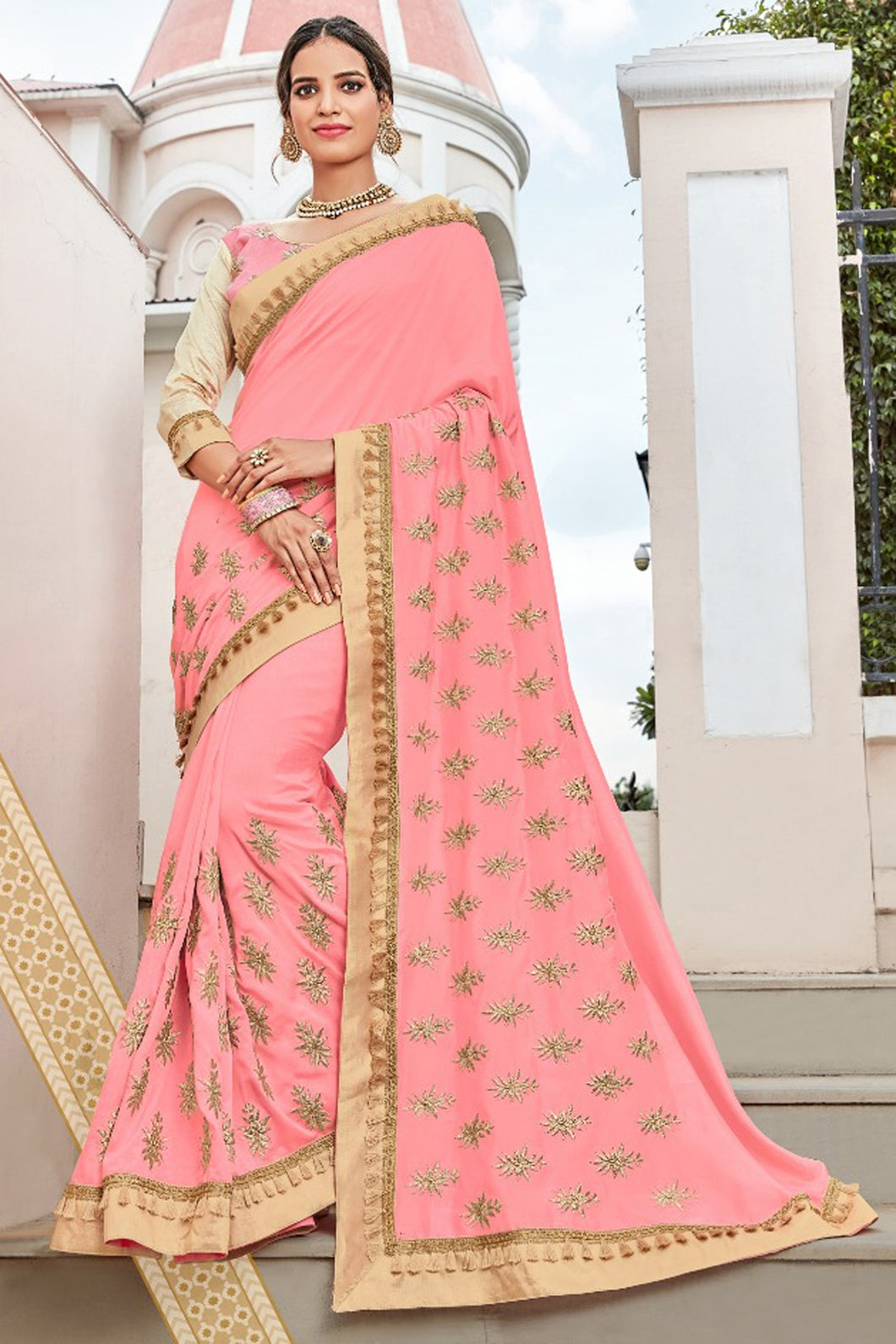 Bhelpuri Baby Pink Georgette Embroidered Designer Party Wear Saree with Banglori Silk Blouse Piece