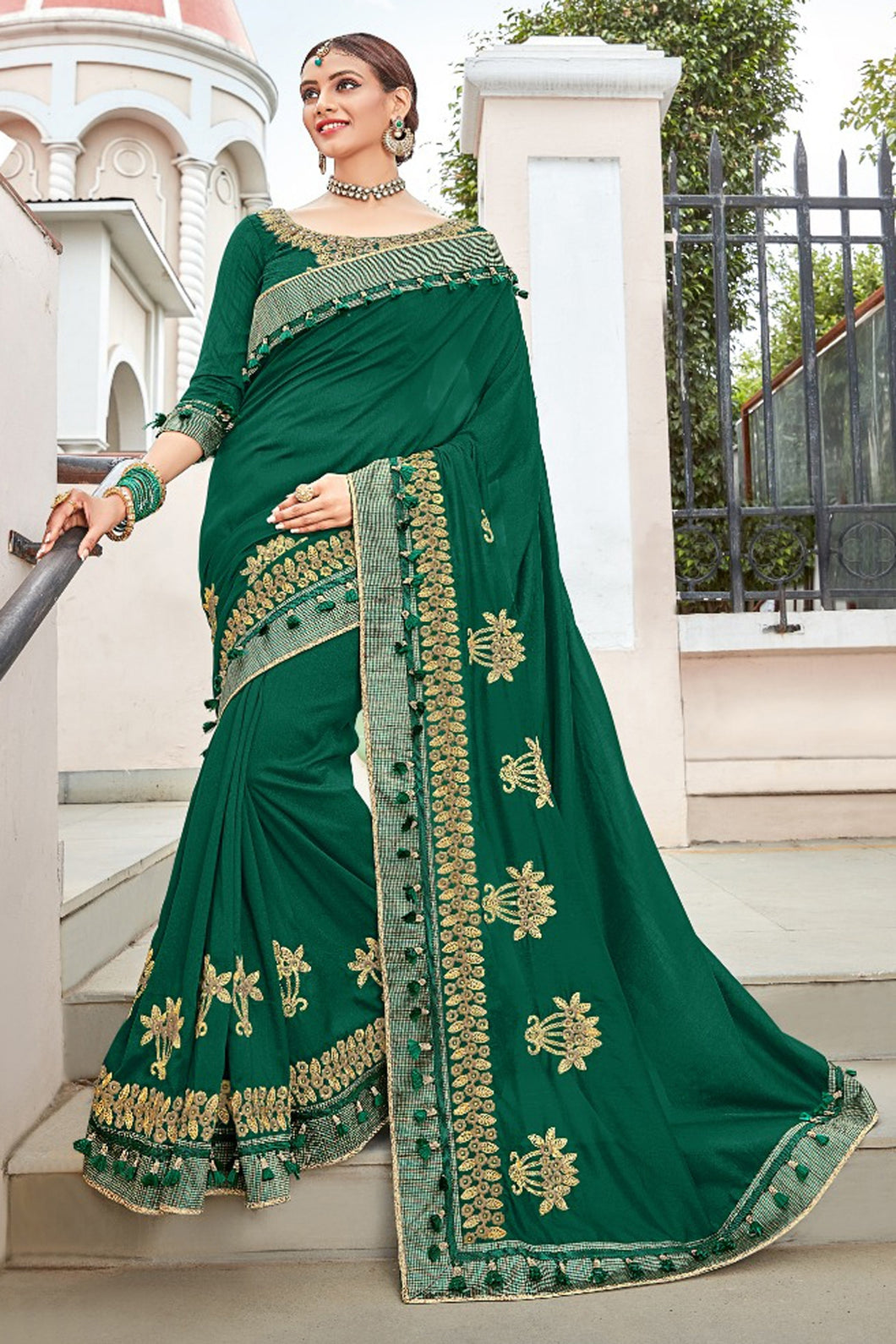 Bhelpuri Dark Green Georgette Embroidered Designer Party Wear Saree with Banglori Silk Blouse Piece