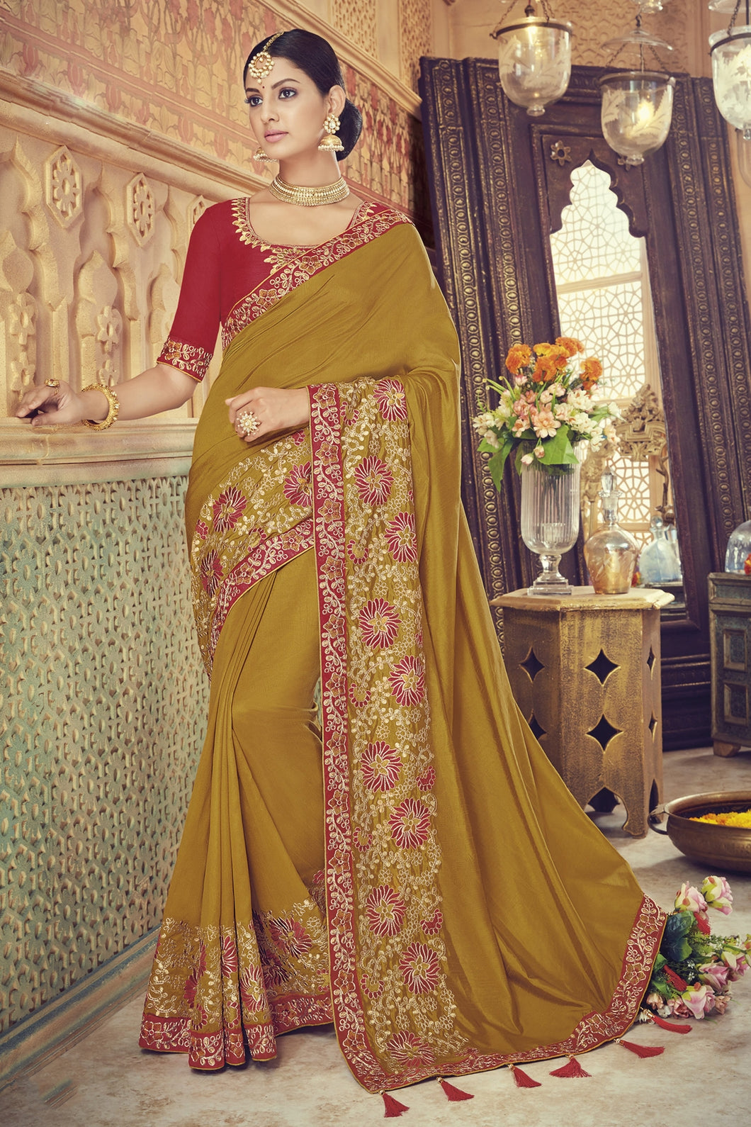 Bhelpuri Olive Silk Embroidered Designer Party Wear Saree with Silk Embroidered Blouse Piece