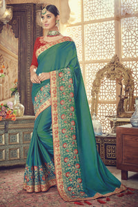 Bhelpuri Green Silk Embroidered Designer Party Wear Saree with Silk Embroidered Blouse Piece