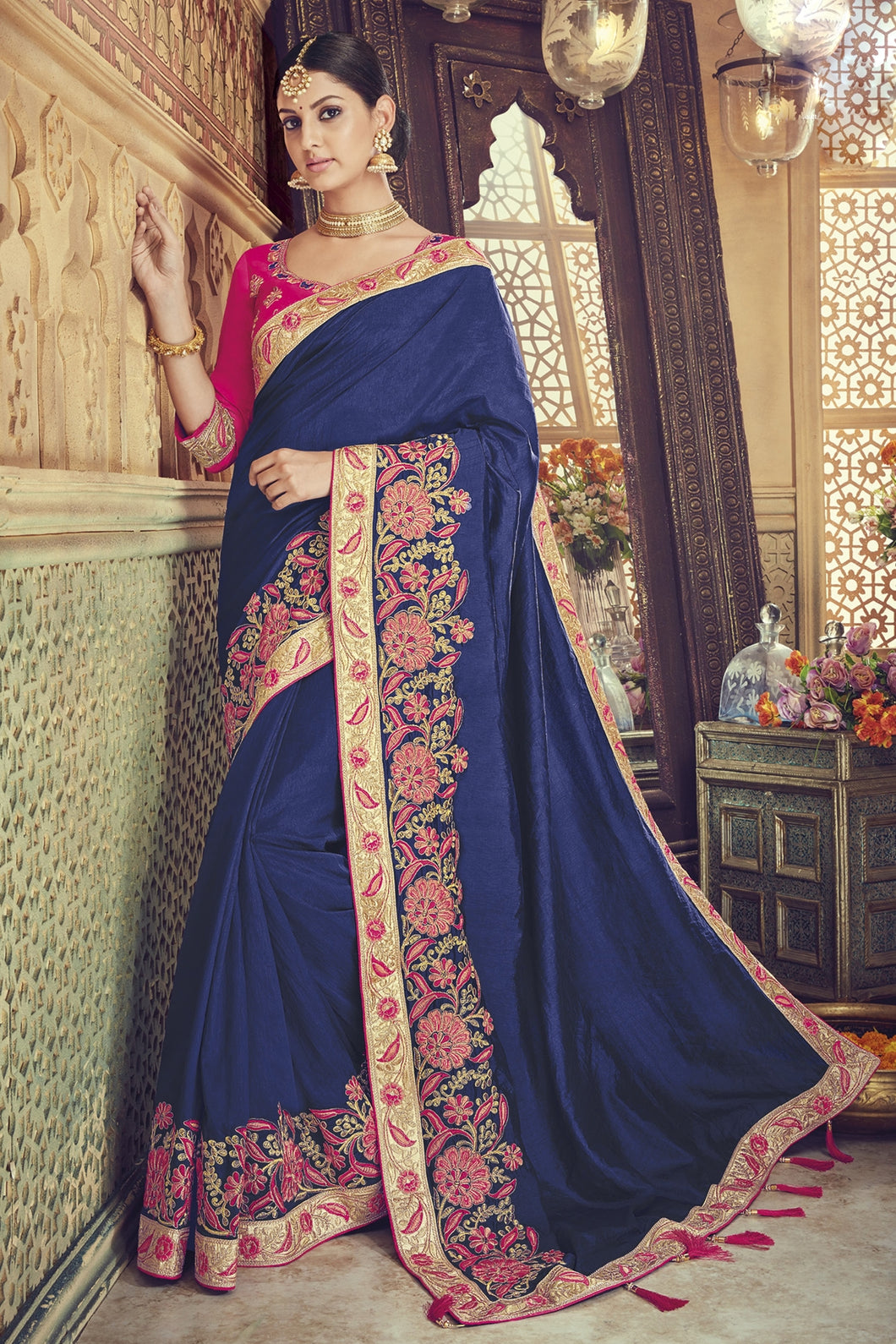 Bhelpuri Navy Blue Silk Embroidered Designer Party Wear Saree with Silk Embroidered Blouse Piece