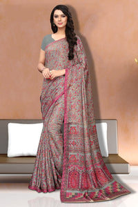 Bhelpuri Grey and Pink Silk Printed Saree with Silk Blouse Piece