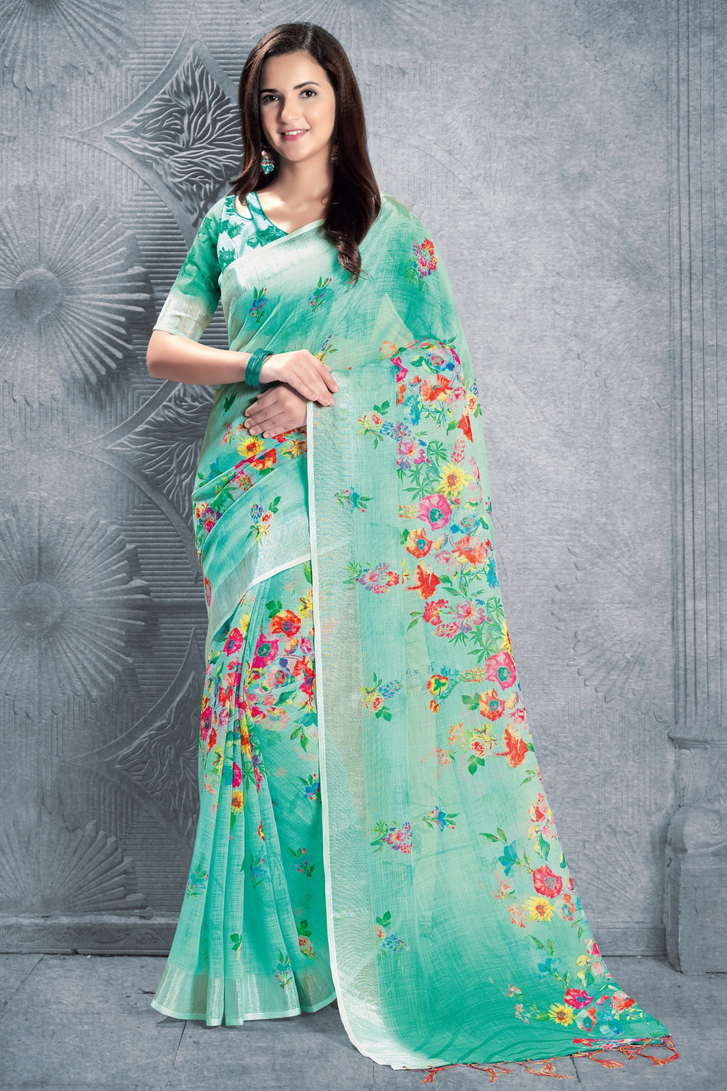 Bhelpuri Light Green Linen Floral Printed Tassel Saree with Linen Blouse Piece