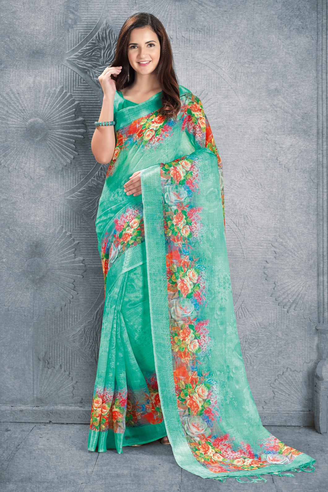 Bhelpuri Green Linen Floral Printed Tassel Saree with Linen Blouse Piece