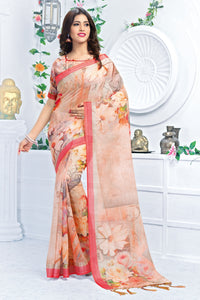 Bhelpuri Peach Linen Floral Printed Tassel Saree with Linen Blouse Piece