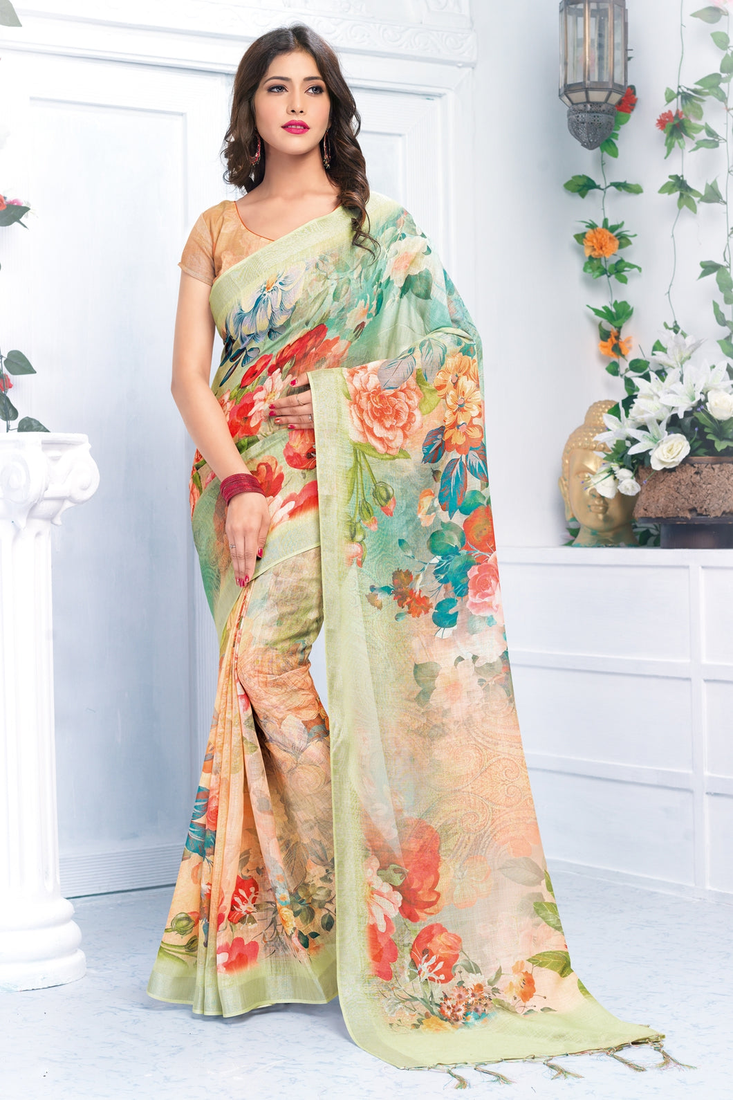 Bhelpuri Multicolour Linen Floral Printed Tassel Saree with Linen Blouse Piece