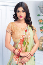 Load image into Gallery viewer, Bhelpuri Multicolour Linen Floral Printed Tassel Saree with Linen Blouse Piece