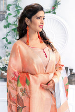 Load image into Gallery viewer, Bhelpuri Peach Linen Floral Printed Tassel Saree with Linen Blouse Piece