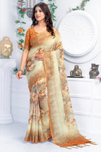 Load image into Gallery viewer, Bhelpuri Cream & Brown Linen Floral Printed Tassel Saree with Linen Blouse Piece