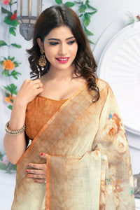 Bhelpuri Cream & Brown Linen Floral Printed Tassel Saree with Linen Blouse Piece