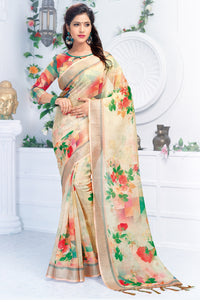 Bhelpuri Cream Linen Floral Printed Tassel Saree with Linen Blouse Piece