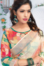 Load image into Gallery viewer, Bhelpuri Cream Linen Floral Printed Tassel Saree with Linen Blouse Piece