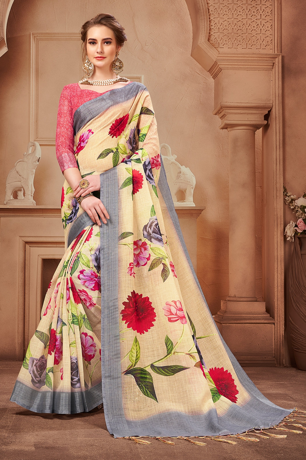 Bhelpuri Cream Linen Floral Printed Designer Saree with Blouse Piece