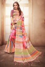 Load image into Gallery viewer, Bhelpuri Multicolour Linen Floral Printed Designer Saree with Blouse Piece