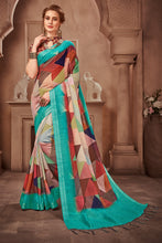Load image into Gallery viewer, Bhelpuri Multicolour Linen Geometrical Printed Designer Saree with Blouse Piece