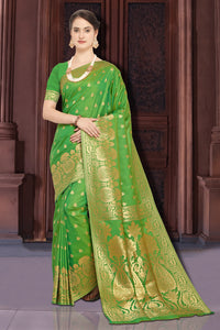 Bhelpuri Green and Gold Tussar Silk Woven Saree with Blouse Piece