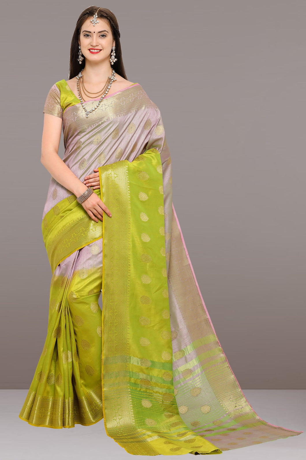 Bhelpuri Light Purple and Light Green Tussar Silk Woven Saree with Blouse Piece