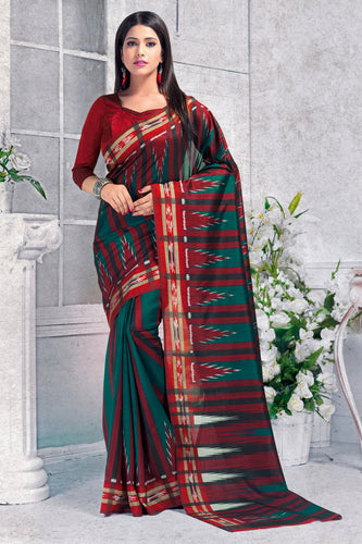 Bhelpuri Green And Maroon Silk Printed Saree with Blouse Piece