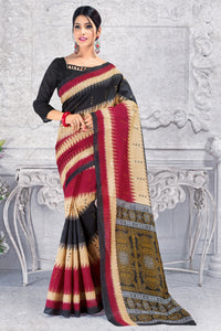 Bhelpuri Black And Maroon Silk Printed Saree with Blouse Piece