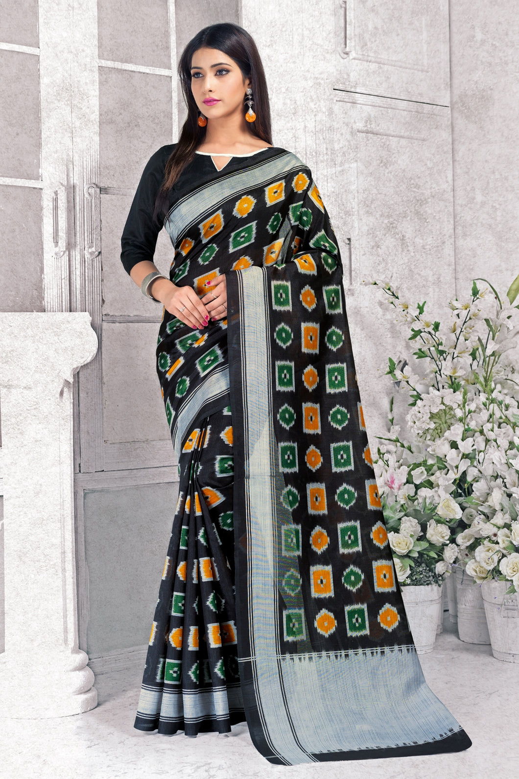 Bhelpuri Black Silk Printed Saree with Blouse Piece