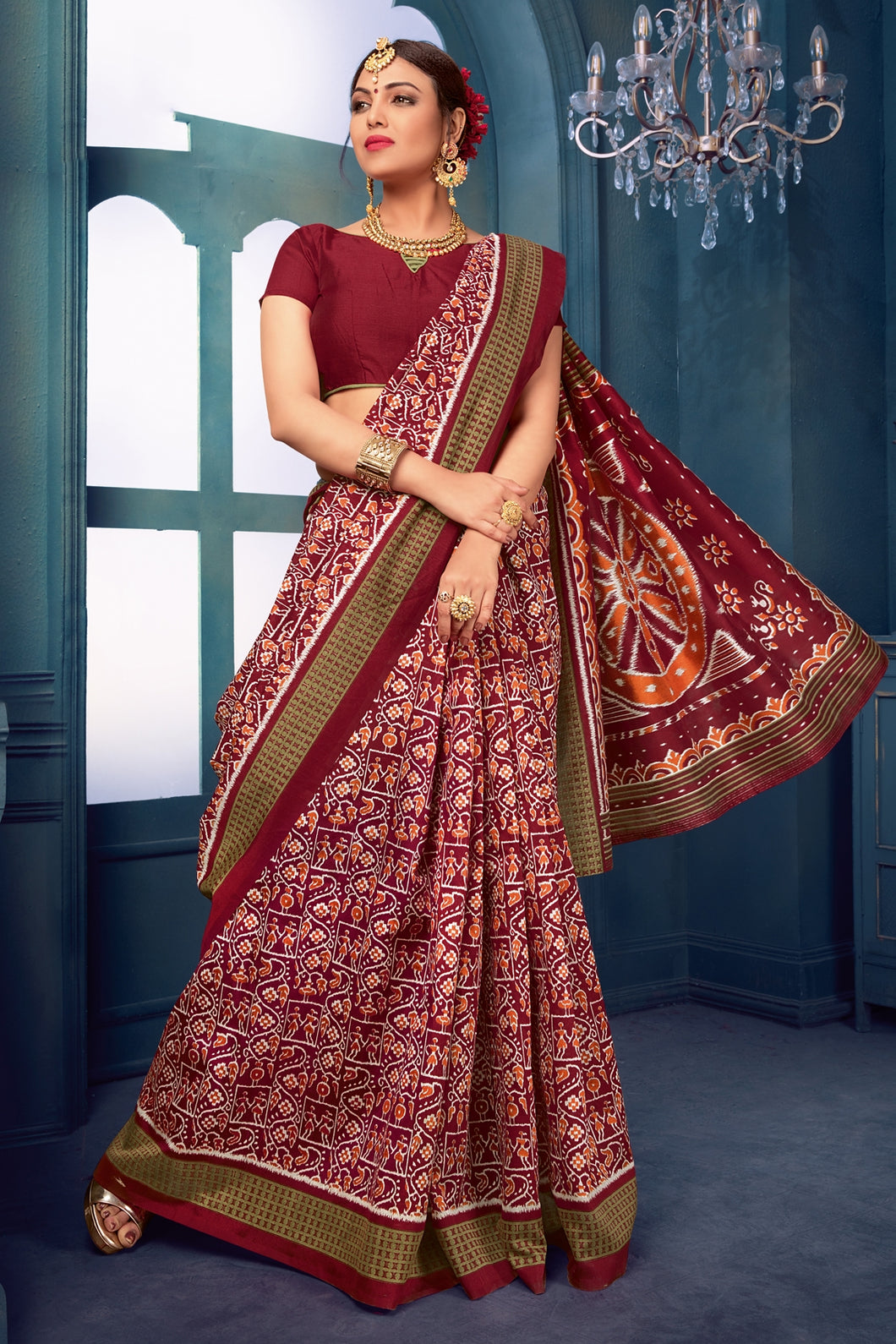 Bhelpuri Maroon Bhagalpuri Silk Printed Designer Saree with Blouse Piece