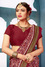 Load image into Gallery viewer, Bhelpuri Maroon Bhagalpuri Silk Printed Designer Saree with Blouse Piece