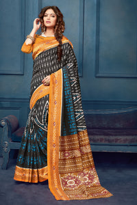 Bhelpuri Black Bhagalpuri Silk Printed Designer Saree with Blouse Piece