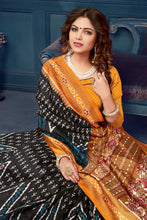 Load image into Gallery viewer, Bhelpuri Black Bhagalpuri Silk Printed Designer Saree with Blouse Piece