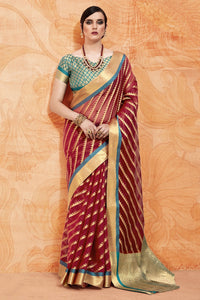 Bhelpuri Maroon Raw Silk Woven Saree with Blouse Piece