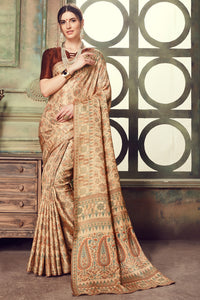 Bhelpuri Brown Manipuri Silk Printed Saree With Brown Blouse