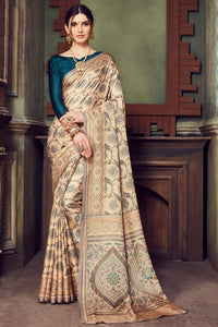 Bhelpuri Brown Manipuri Silk Printed Saree With turquoise Blouse