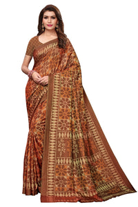 Bhelpuri Brown & Orange Silk Floral Printed Saree with Silk Blouse Piece