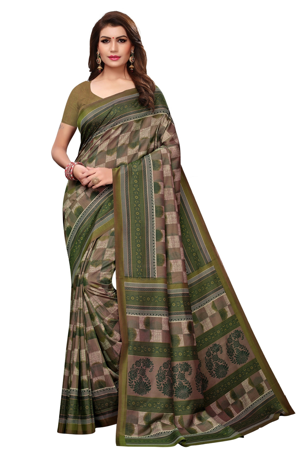 Bhelpuri Green Silk Geomatrical Printed Saree with Silk Blouse Piece