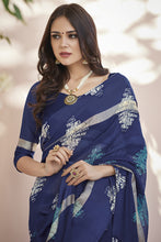 Load image into Gallery viewer, Bhelpuri Navy Blue Kota Silk Saree