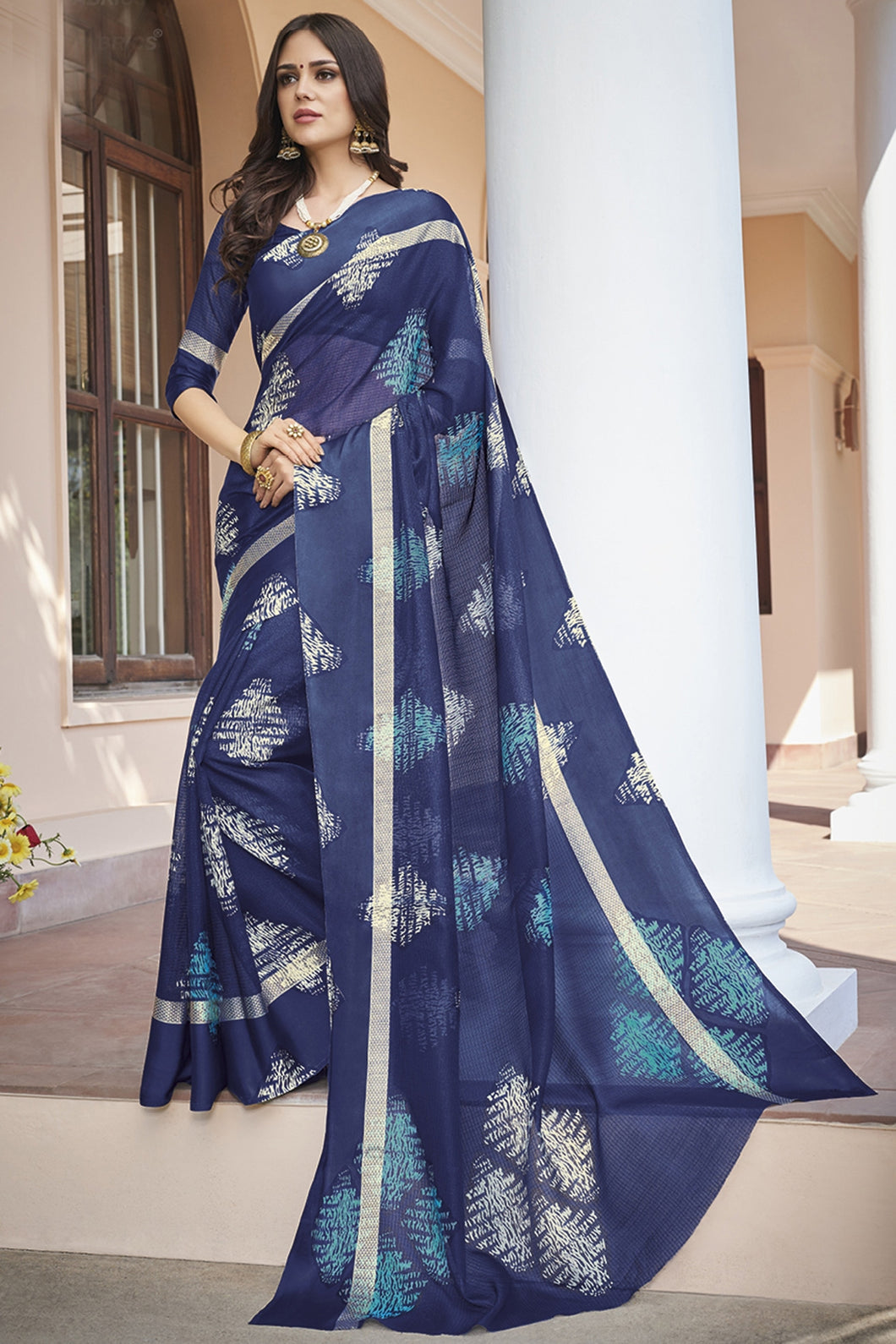Bhelpuri Navy Blue Kota Silk Saree