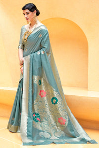 Bhelpuri Light Teal Blue Raw Silk Woven Saree with Blouse Piece