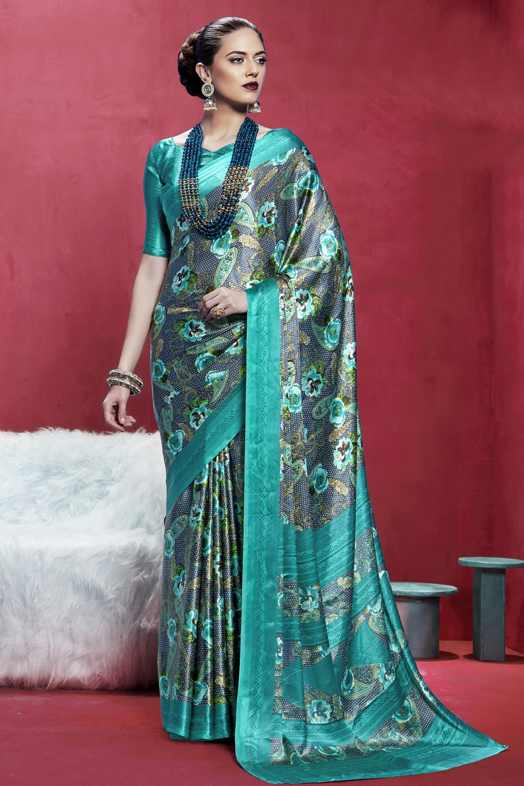 Bhelpuri Grey And Turquoise Japan Satin Crepe Printed Saree with Blouse Piece